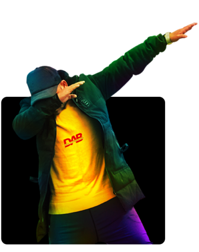 A boy doing a DAB action in a digital marketing company in pune